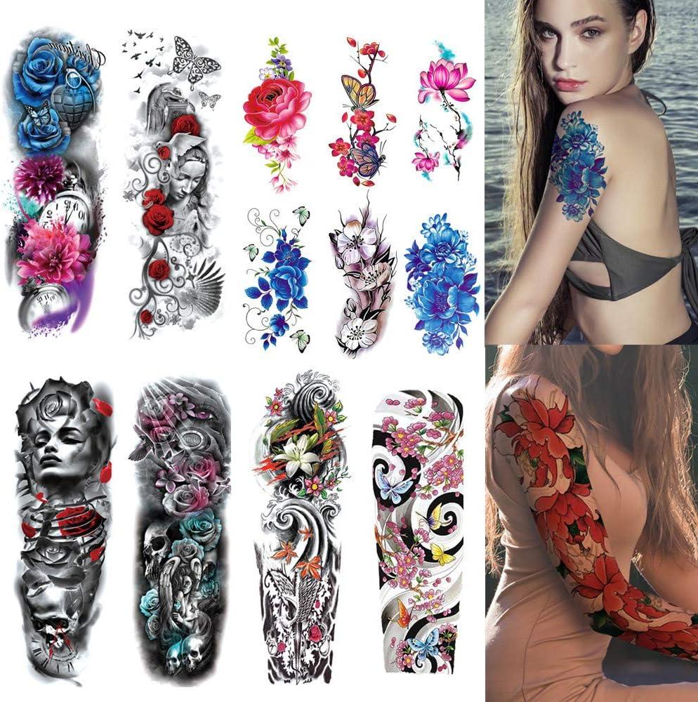 12 Hojas de Tatuajes temporales para el Brazo Pegatinas para Hombres, Mujeres Pegatinas de Tatuajes temporales, Hombres, Mujeres, Tatuaje del Brazo, Brazo Completo, Media para el Carnaval