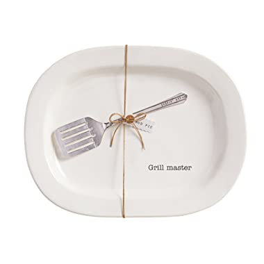 Mud Pie Grill Master Platter Set, White