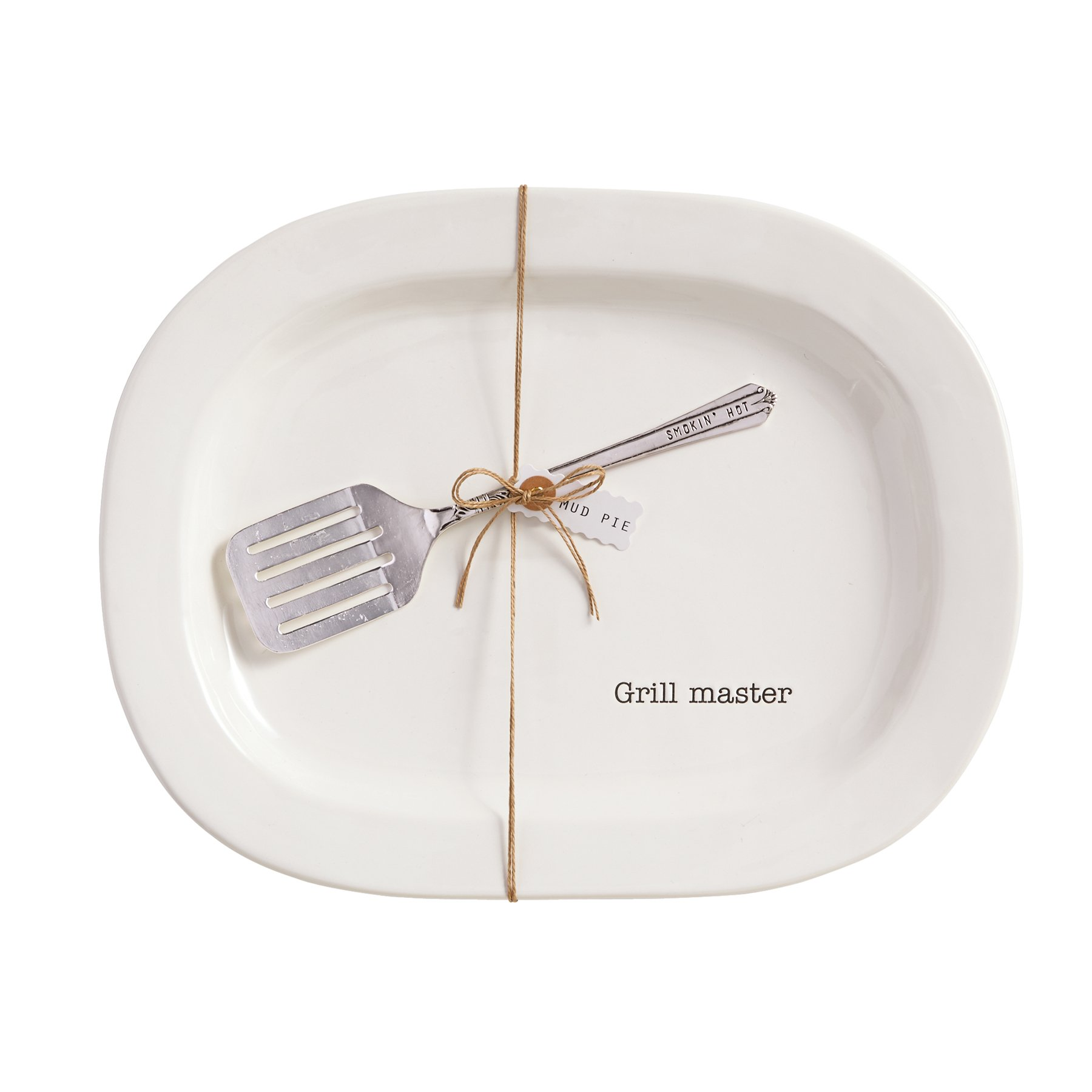 Mud Pie Grill Master Platter Set, White