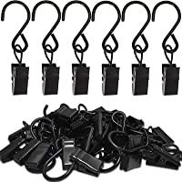 AMZSEVEN Stainless Steel S Hooks Curtain Clips, 50 Pack Hanging Party Lights Clips, Hangers Gutter Photo Camping Tents…