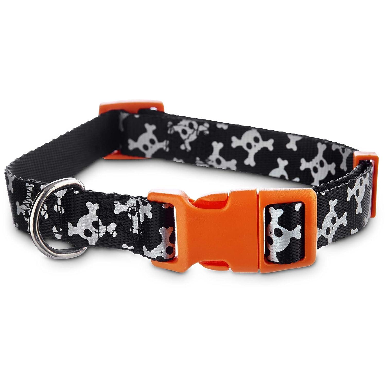 Large Bootique Reflective Skull Dog Collar, Large, Black