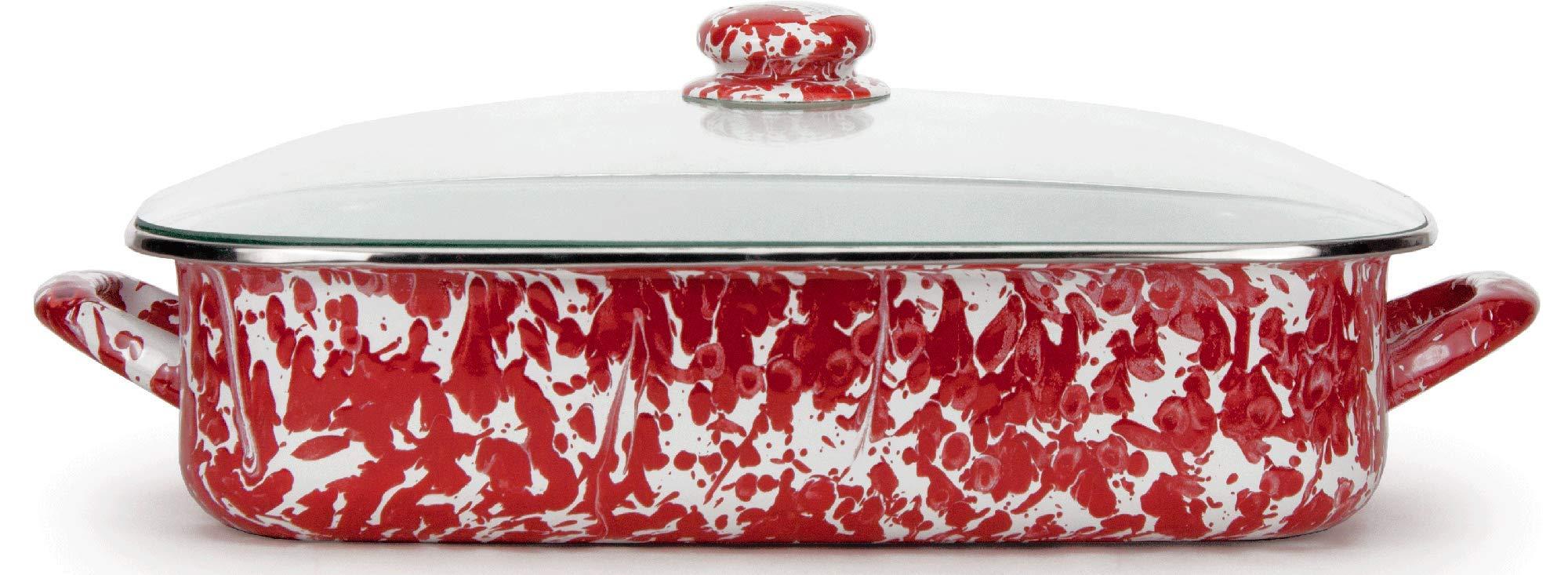 Golden Rabbit Enamelware - Red Swirl Pattern -16 x 12.5 x 4 inch Lasagna Pan Set by Golden Rabbit