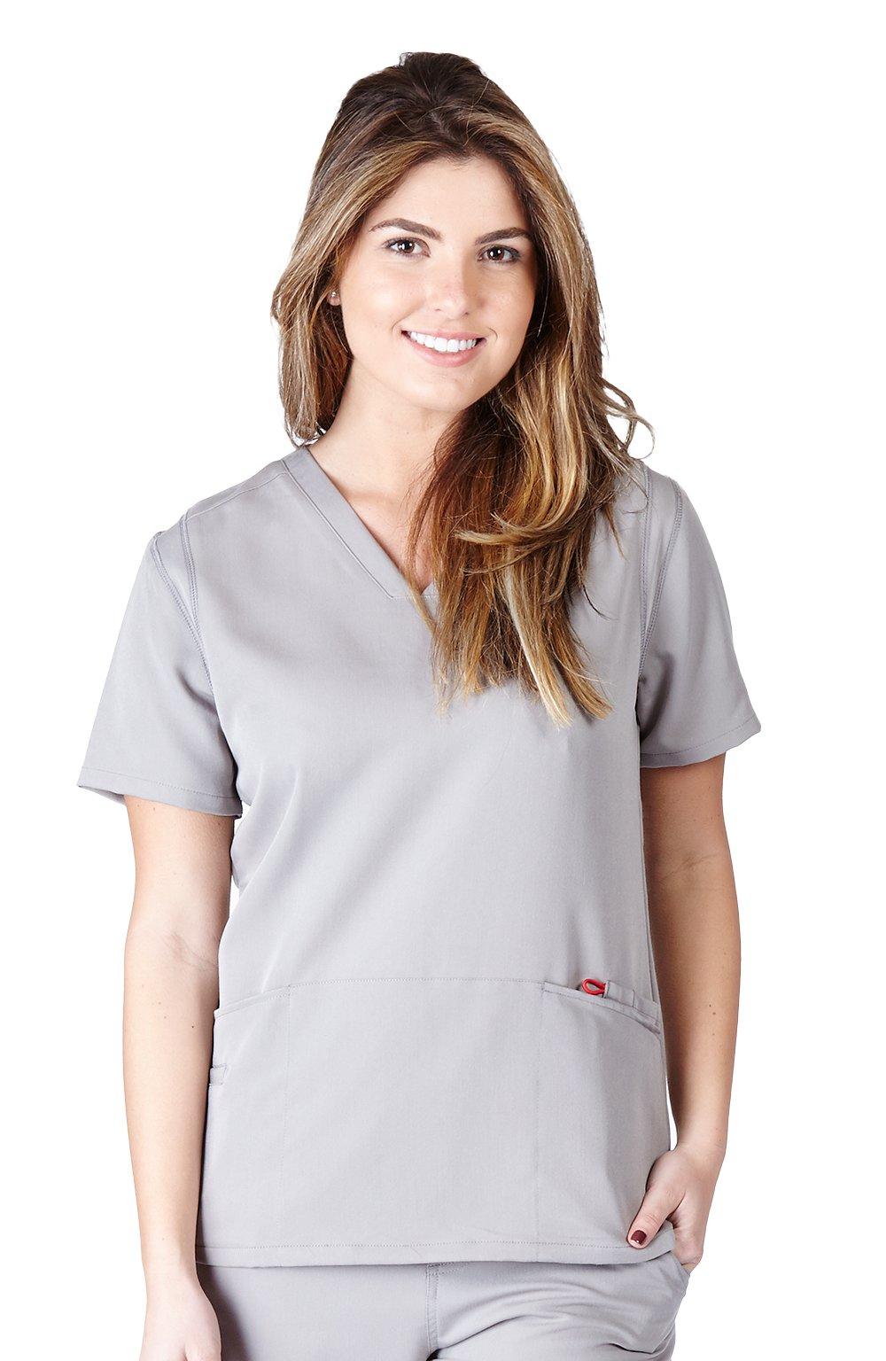 Ultra Soft Scrubs - Womens Two Pocket Scrub Top, Grey 38787-Large