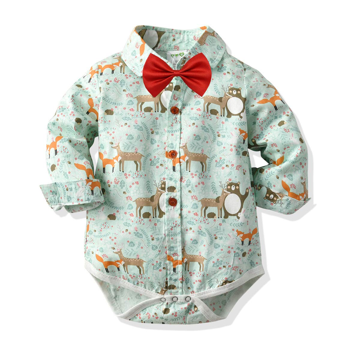 Infant Toddler Newborn Boys Baby Gentleman Outfits Set,Long Sleeve Button Down Lapel Romper Bow Tie Print Clothing Bodysuits Green by KINGLEN Baby Romper