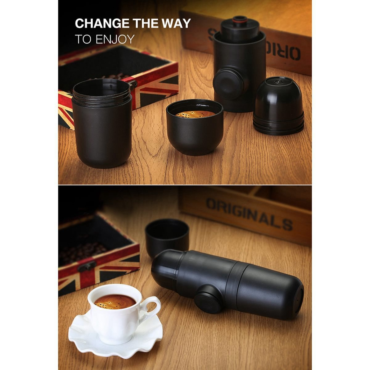 Toogoo Portable Espresso Maker by Handheld Travel Coffee Maker with An Additional Filter Basket
