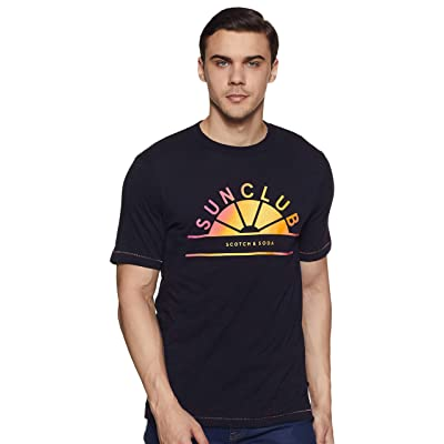 Scotch & Soda Men's Multicolour Artwork T-Shirt: Clothing