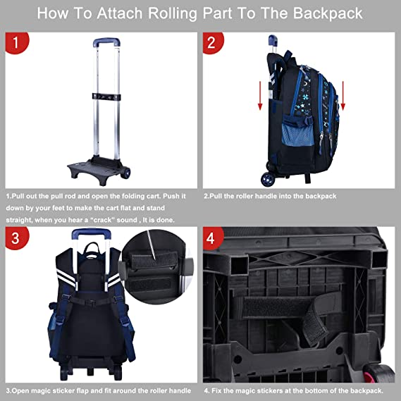Amazon.com: Rolling Backpack Splash-proof Oxford Wheeled Backpack Carry-on Luggage for 14 Laptop: COOFIT