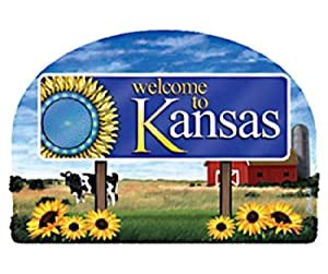 Kansas State Welcome Sign Wood Fridge Magnet 2