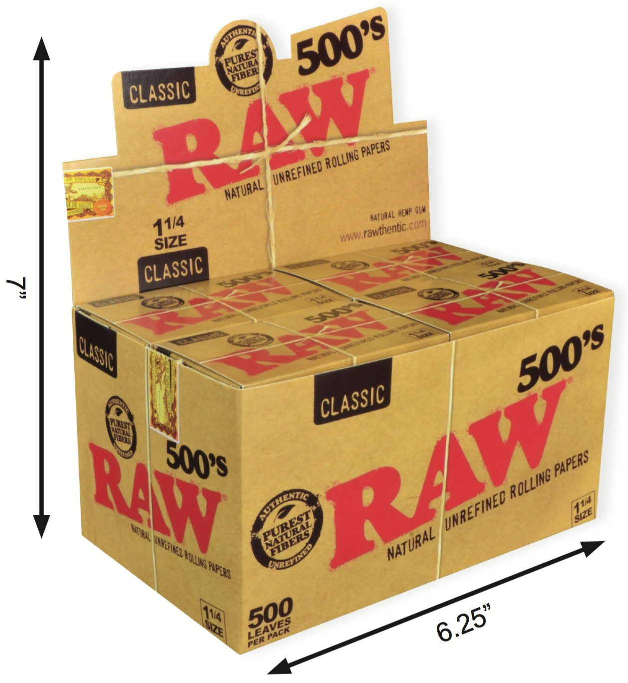 RAW 500's Classic Natural Unrefined Rolling Paper 1 1/4 79mm Size (20)