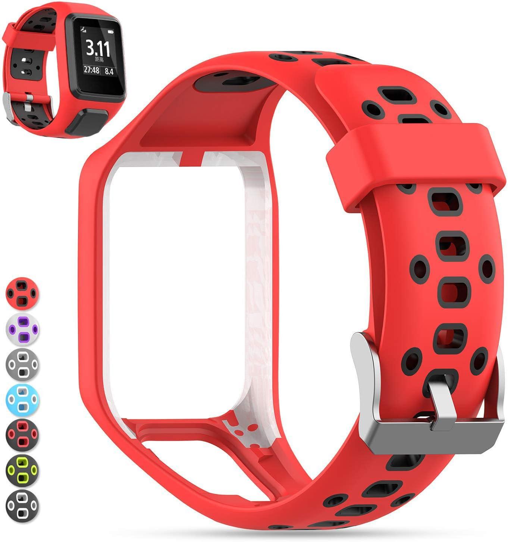Tomtom Correa de Reloj, MOGOI Correa de silicona de repuesto para reloj deportivo GPS TomTom Runner 2/ Runner 3/ Spark 3/ Adventurer/ Golfer 2 GPS Deportes Correr SmartWatch