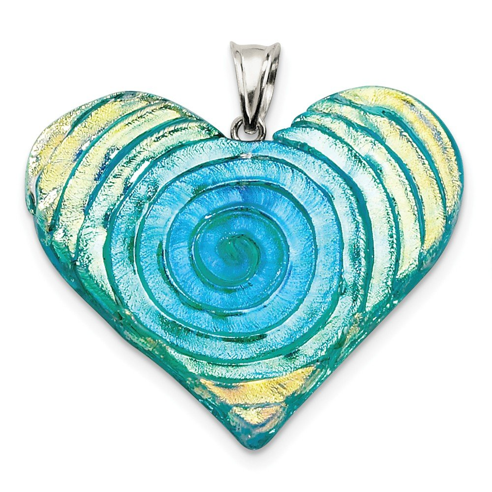 Green Dichroic Heart Pendant Sterling SIlver Yellow-tone Blue