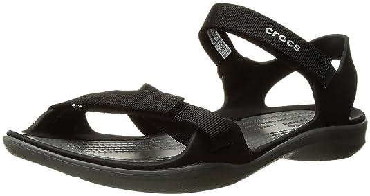 Crocs Women s Swiftwater Webbing W Flat Sandal Fashion Sandals at amazon