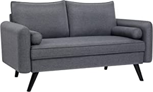 VASAGLE Sofa, Couch for Living Room, Breathable Linen-Look Surface, for Apartment, 59.4 x 32.3 x 32.7 Inches, Gray