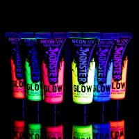 Monsterglow Neon uv face paint for Face and Body Paint Set of 6 Tubes - Fluorescent - Brightest glow under UV! uv face paint great kids face painting kit. UV body paint best festival face paint, neon paint, glow paint,