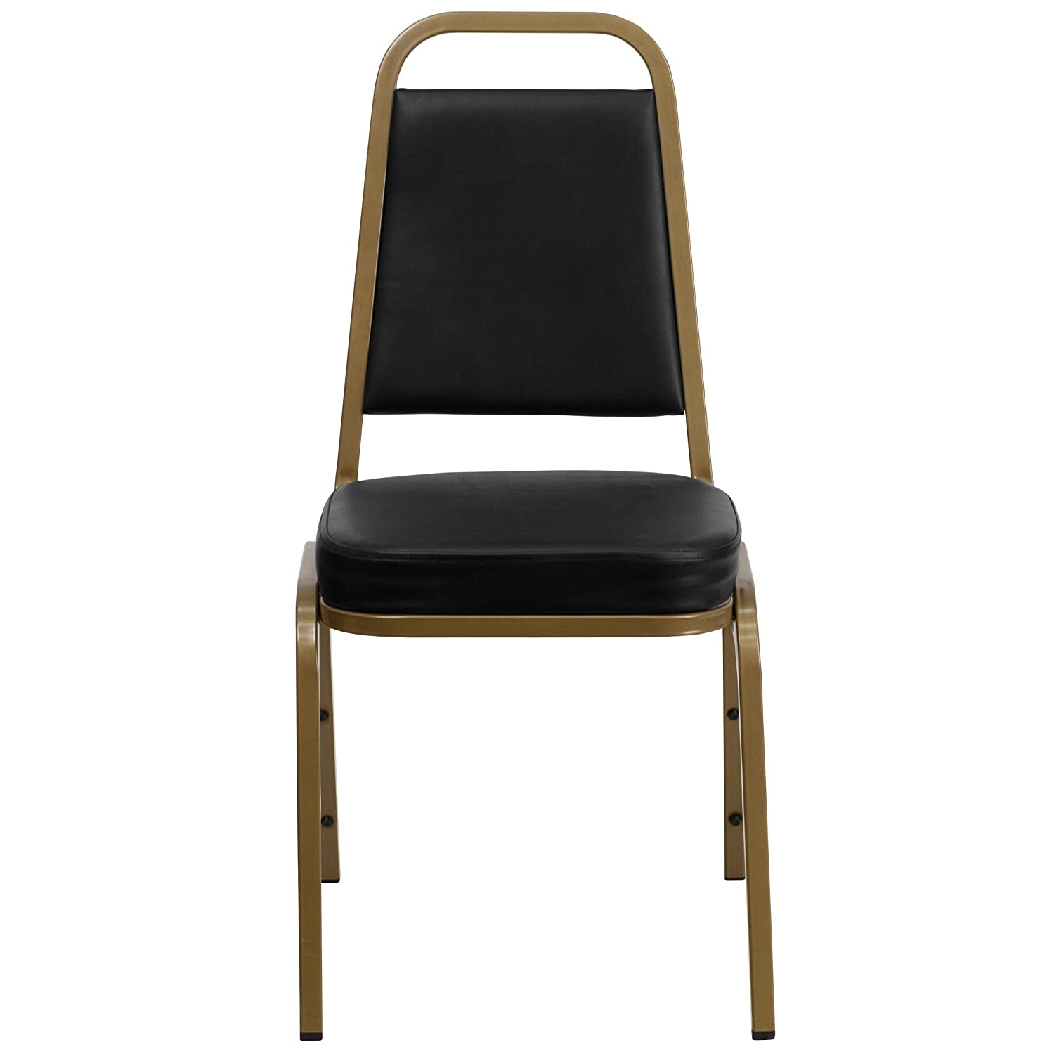 Amazon.com: Flash Furniture HERCULES Series Trapezoidal Back Stacking Banquet  Chair In Black Vinyl   Gold Frame: Kitchen U0026 Dining