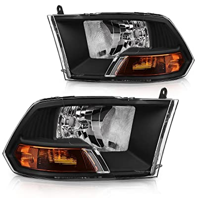 AUTOSAVER88 Compatible with 09 10 11 12 Dodge Ram 1500 2500 3500 Pickup Dual Cab Headlight Assembly Replacement,Black Housing Headlamp(Not for Quad Models,Pair): Automotive