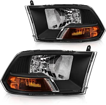 Headlights Assembly Replacement For 2009-2012 Dodge Ram 1500 2500 3500 Pickup Dual Cab Headlights Headlamp Left+Rights Not for Quad Models