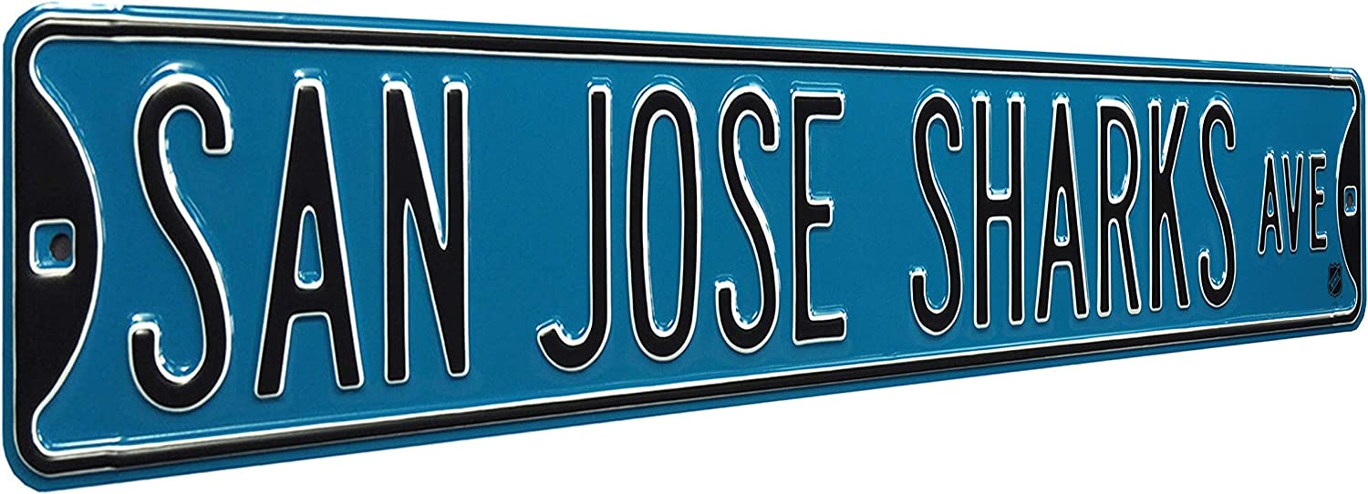 NHL San Jose Sharks Ave, Metal Wall Decor- Large, Heavy Duty Steel Street Sign – Hockey Wall Decor for Dorm Room Decorations, Man Cave Decor, Office and Gifts