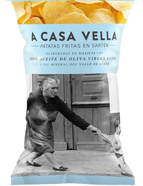 A CASA VELLA patatas DE GALICIA fritas elaboradas en aceite de oliva virgen extra y sal