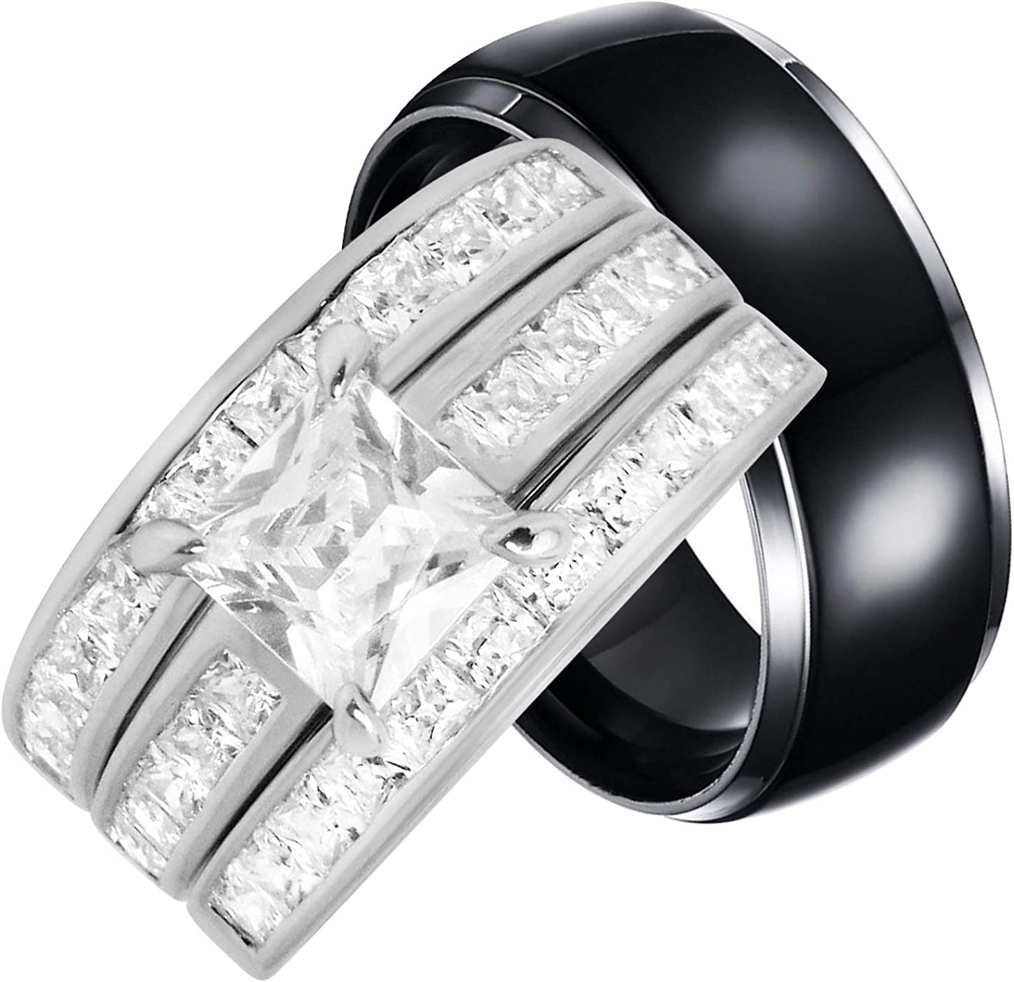 Amazon Com His And Hers Trio Wedding Rings Set Sterling Silver Titanium Matching Bands For Him And Her Jewelry