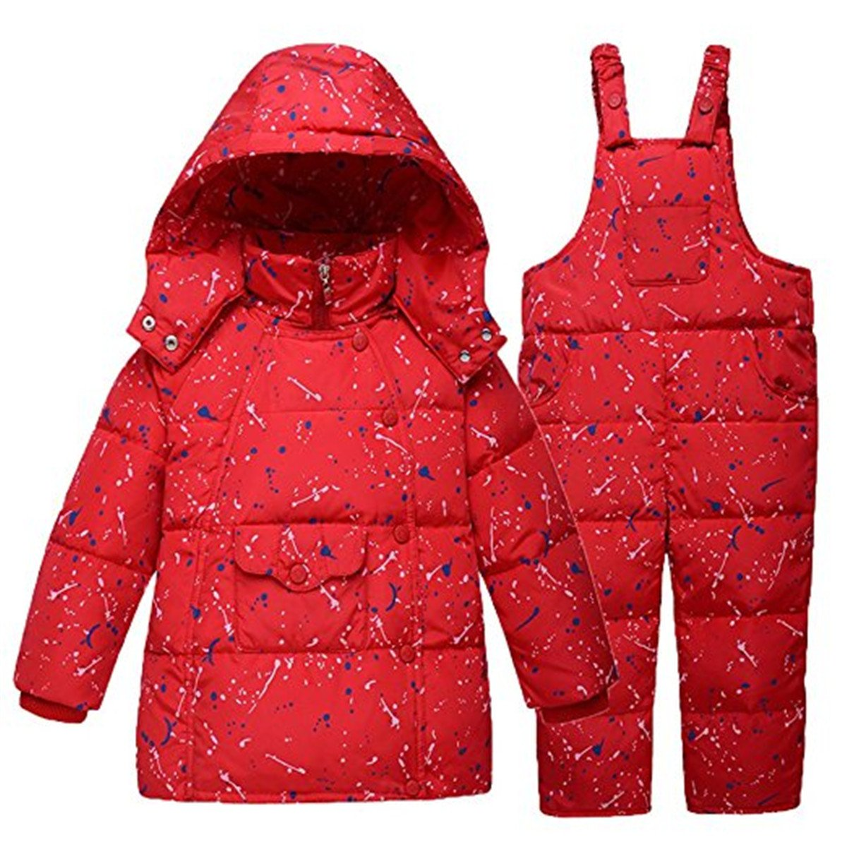 Little Unisex Baby Two Piece Winter Warm Snowsuit Puffer Down Jacket With Snow Ski Bib Pants Outfits