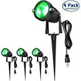 warmoon Outdoor Landscape Lighting 5W Waterproof COB Led Spotlights with US 3- Plug Green Light Decorative Lamps Come with Spiked Stand For Lawn, Garden, Yard, Along Driveway or Pathways (4 Packs)