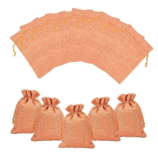 NBEADS 100Pcs Bolsa de Regalo de Tela Bolsa de arpillera para favores de Fiesta Almacenaje de Joyas y Maquillaje para Viajes, Coral, 18x13cm