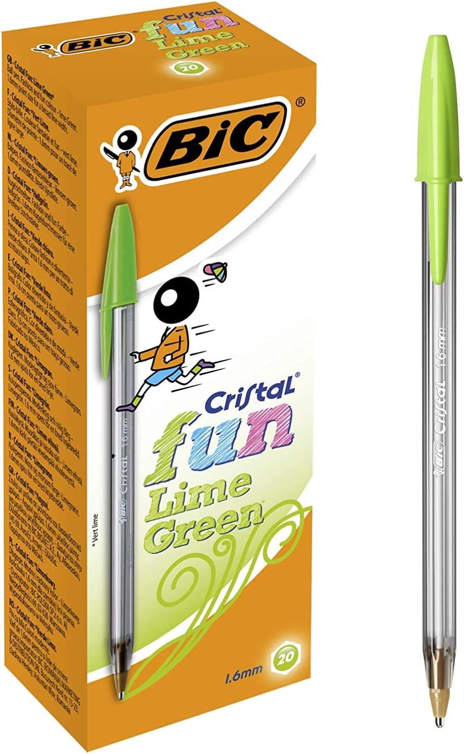 BIC Cristal Fun bolígrafos Punta Ancha (1,6 mm) – Verde Lima, Caja ...