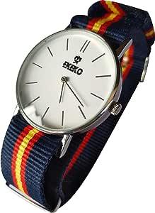 Ekeko Reloj Analogico Unisex maquinaria SL68, Correa de Nylon, Esfera Blanca Modelo ESPAÑA. (37mm): Amazon.es: Relojes