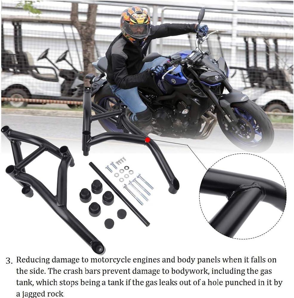 FATExpress Motorcycle Flat Black Steel Stunt Slider Cage Engine Guard Highway Crash Bar Crashbar Frame Protector for 2017-2018 Yamaha MT FZ 09 MT09 FZ09 MT-09 FZ-09 XSR900 Tracer 17-18
