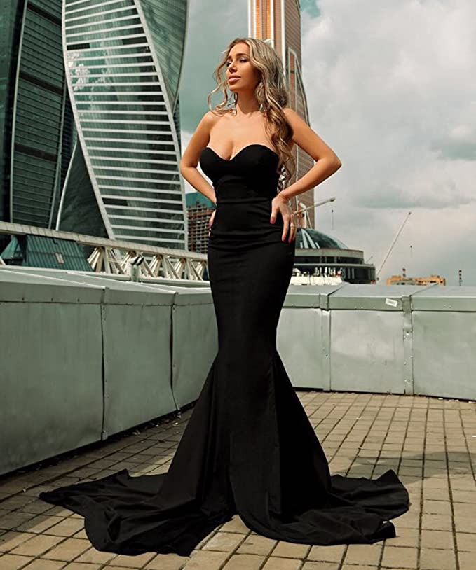 425401e7c1566 Miss ord Strapless Asymmetric Slit Front Wedding Evening Party Maxi Dress  at Amazon Women's Clothing store: