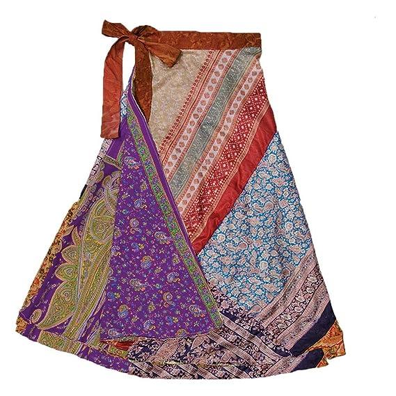 60s Skirts | 70s Hippie Skirts, Jumper Dresses Jedzebel ¾ Length Reversible Patchwork Silk-Blend Sari Wrap Skirt - DN20 $19.99 AT vintagedancer.com