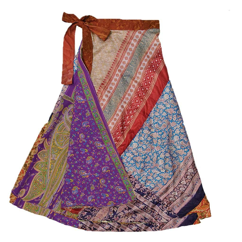 Jedzebel ¾ Length Reversible Patchwork Silk-Blend Sari Wrap Skirt - DN20