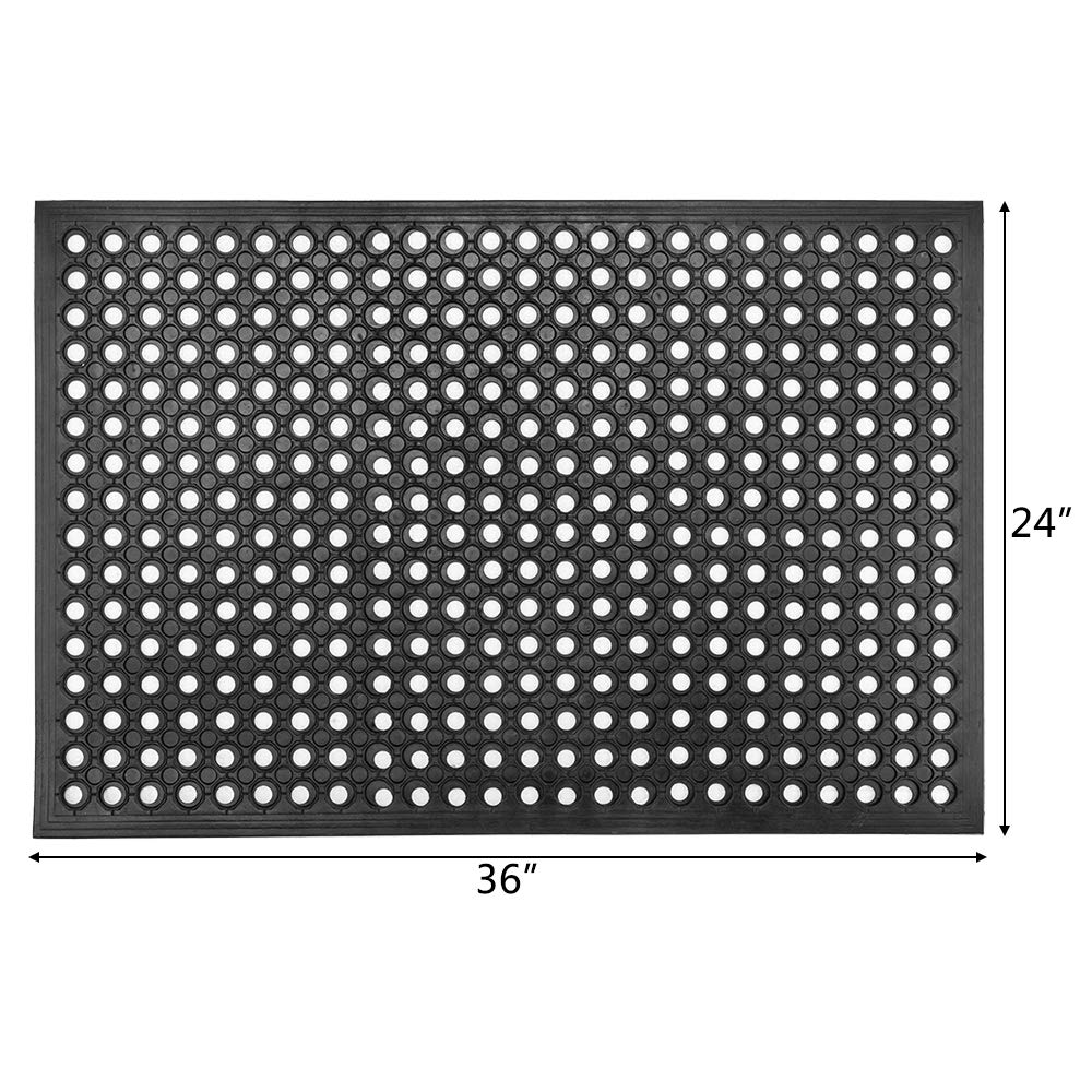 2 24x 36 Anti-Fatigue//Non-Slip Drainage Mat for Industrial Kitchen Restaurant Bar Bathroom Indoor//Outdoor Cushion ROVSUN Rubber Floor Mat with Holes