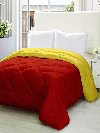 Story@Home Microfiber Ultra Soft Reversible Comforter - Double, Yellow And Red