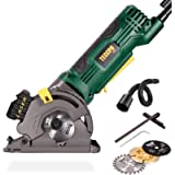 """Circular Saw, TECCPO 3-1/3"""" 4.8Amp 3500RPM Mini Saw with Laser, Corded Compact Saw with 3 Saw Blades, Scale Ruler…"""