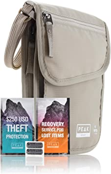 Neck Wallet & Hidden Passport Holder - RFID w/Theft Insurance and Lost & Found Service