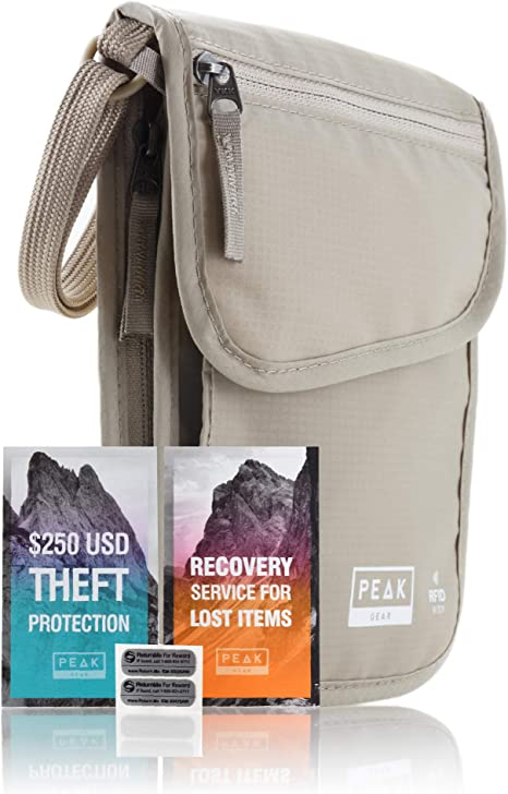 RFID Neck Wallet - The Original Travel Pouch with Adjustable Crossbody Strap