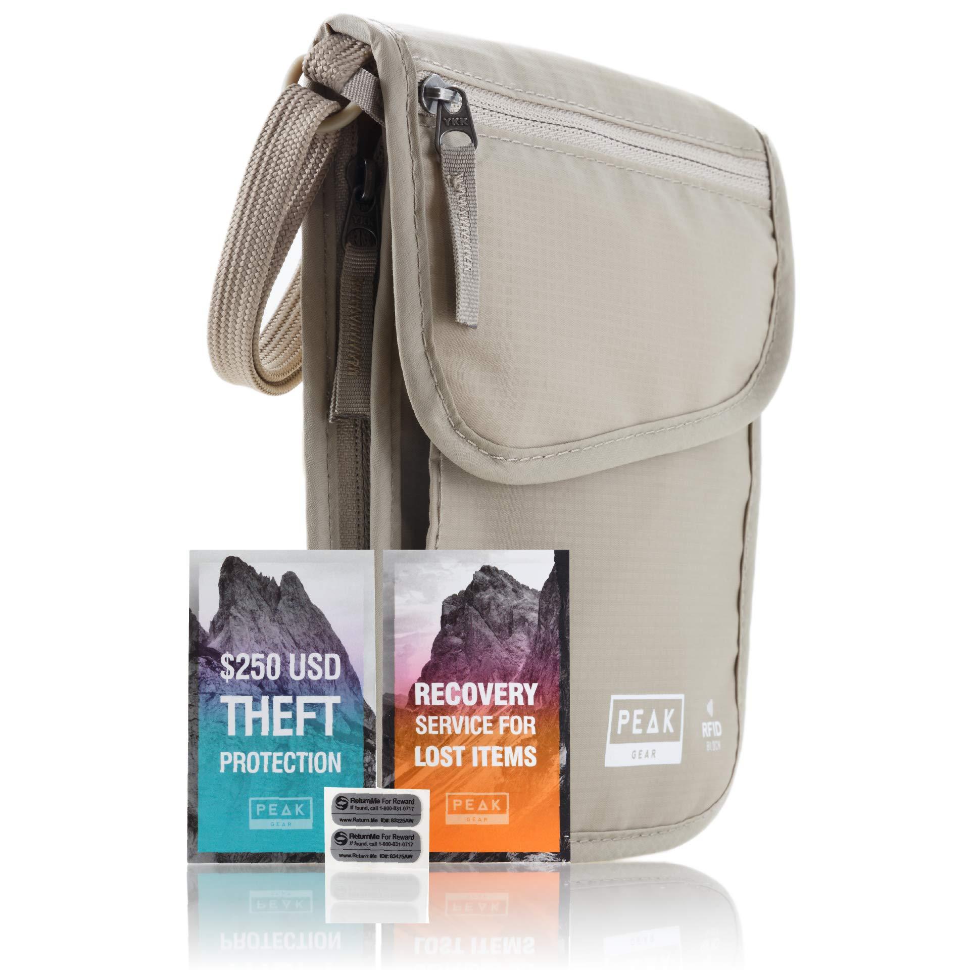 Neck Wallet & Hidden Passport Holder - RFID w/Theft Insurance and Lost & Found Service by Peak Gear