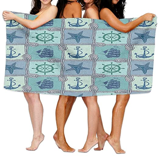 ewtretr Bath Towel Ships Wheel Patchwork Pattern with Ropes ...