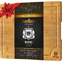 Bamboo Cutting Board for Kitchen with Handles and Juice Groove - Butcher Block for Chopping Meat and Vegetables (10 x 15 inches)