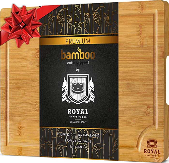 Bamboo Cutting Board for Kitchen (10 x 15 inches) with Handles and Juice Groove - Butcher Block for Chopping Meat and Vegetables