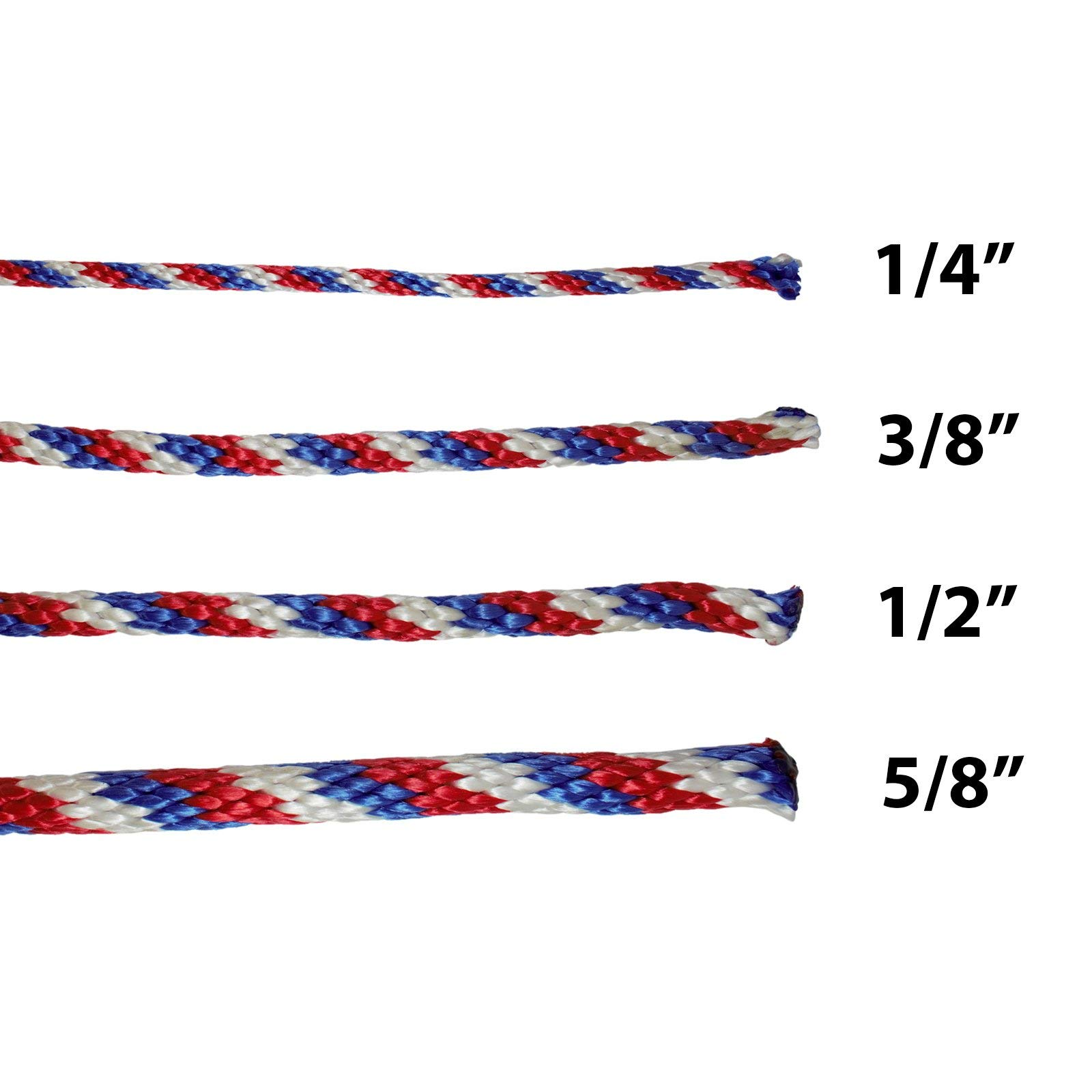 Multifilament Polypropylene Rope - Derby Rope (1/2 inch) Solid Braid - SGT KNOTS - Soft Touch MFP Floating Line - Boating, Docks, Animal Handling, Theater, Crafting (500 feet - RedWhiteBlue) by SGT KNOTS