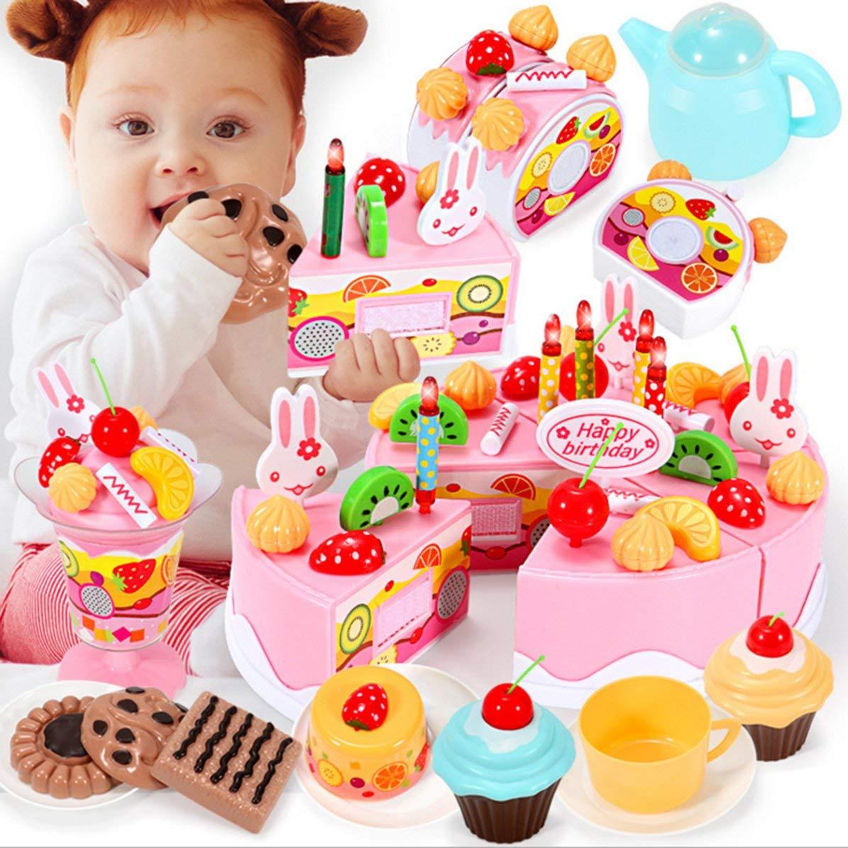 DoMoment Giocattoli da Cucina per Bambini in Legno Fare Finta di Giocare Torta da Taglio Gioca Cibo Giocattoli per Bambini Giocattoli da Cucina in Legno