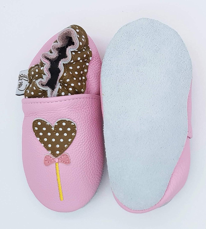 LEPEPPE Primi Passi Fino al 32//33!! Neonato Scarpine in Pelle Prima Infanzia Nido Materne Danza Cuori Lollipop Palloncini Pantofole Babucce