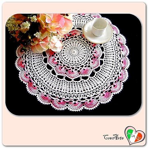 Tapete redondo blanco y rosa de ganchillo en algodón ...