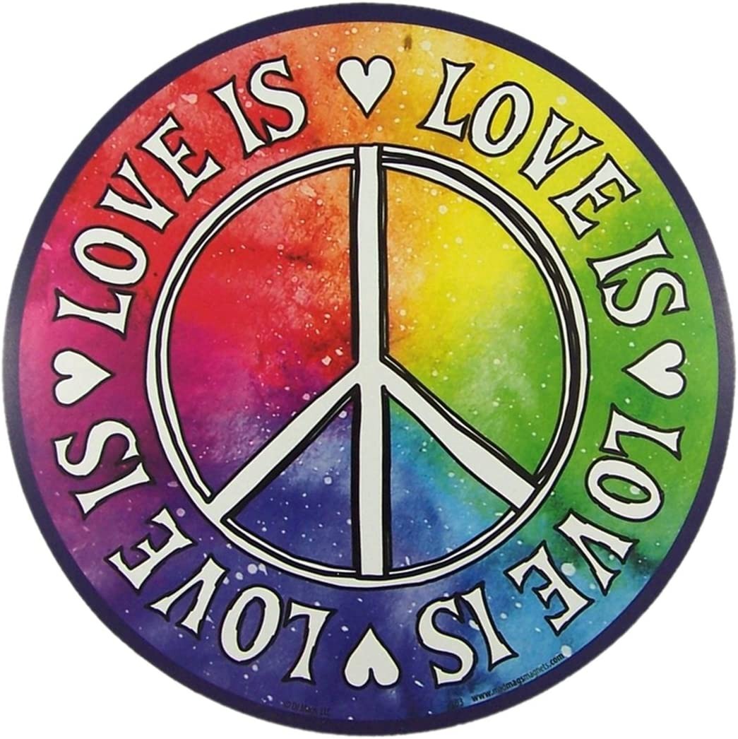 Inspirational Car Magnet Love is Love Peace Magnetic Decal for Locker or Fridge, 5 3/4 Inch