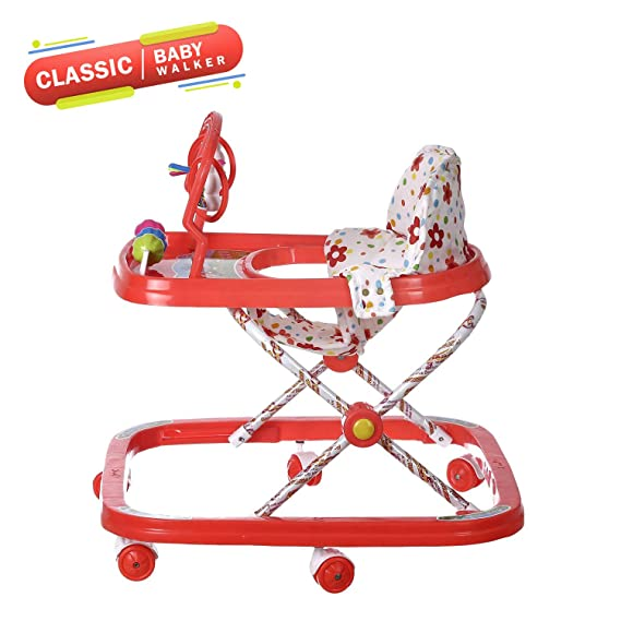 NHR Classic Baby Walker with Rattles and Hanging Toys (Red)