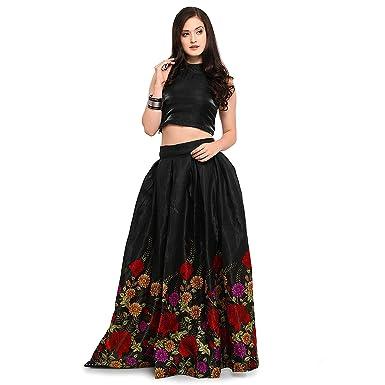 d01f537cb Bhurakhiya Women's Satin Multicolour Wedding Lehenga Choli(Black_2155):  Amazon.in: Clothing & Accessories