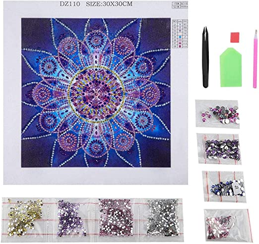 DIY Mandala Flower 5D Diamond Painting Embroidery Cross Stitch Set Home 30*30cm
